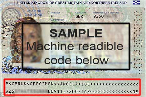 VISA sample machine readible code