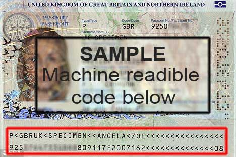 VISA sample machine readible code