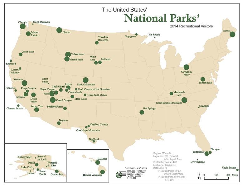 Mapa národních parků v USA