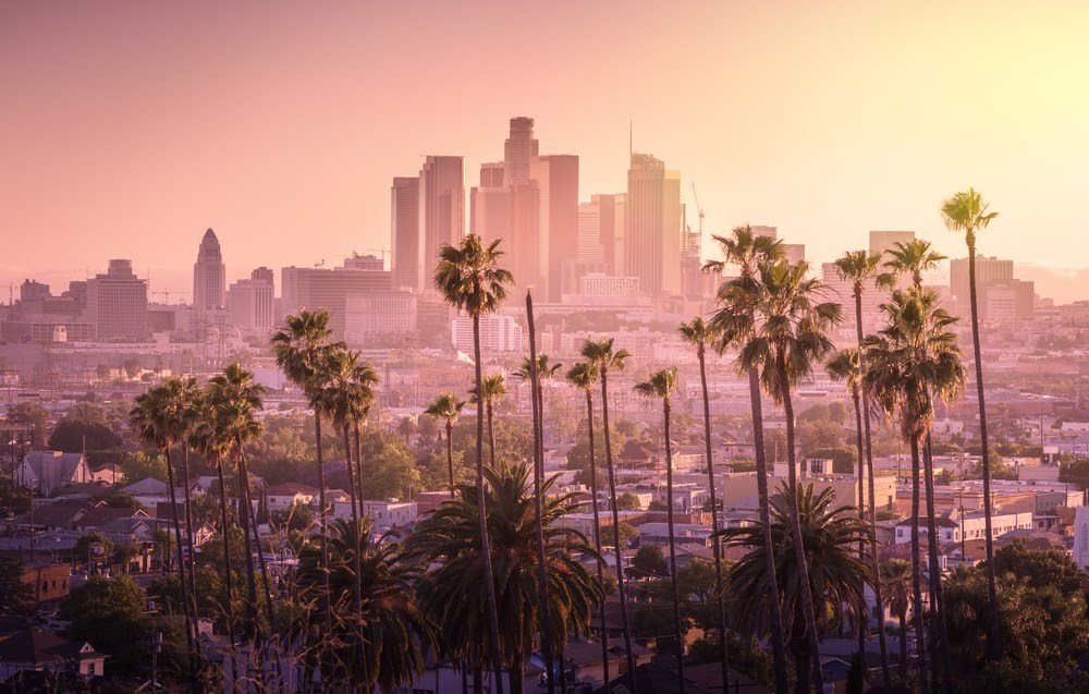 Los ANgeles v ranním oparu, Kalifornie