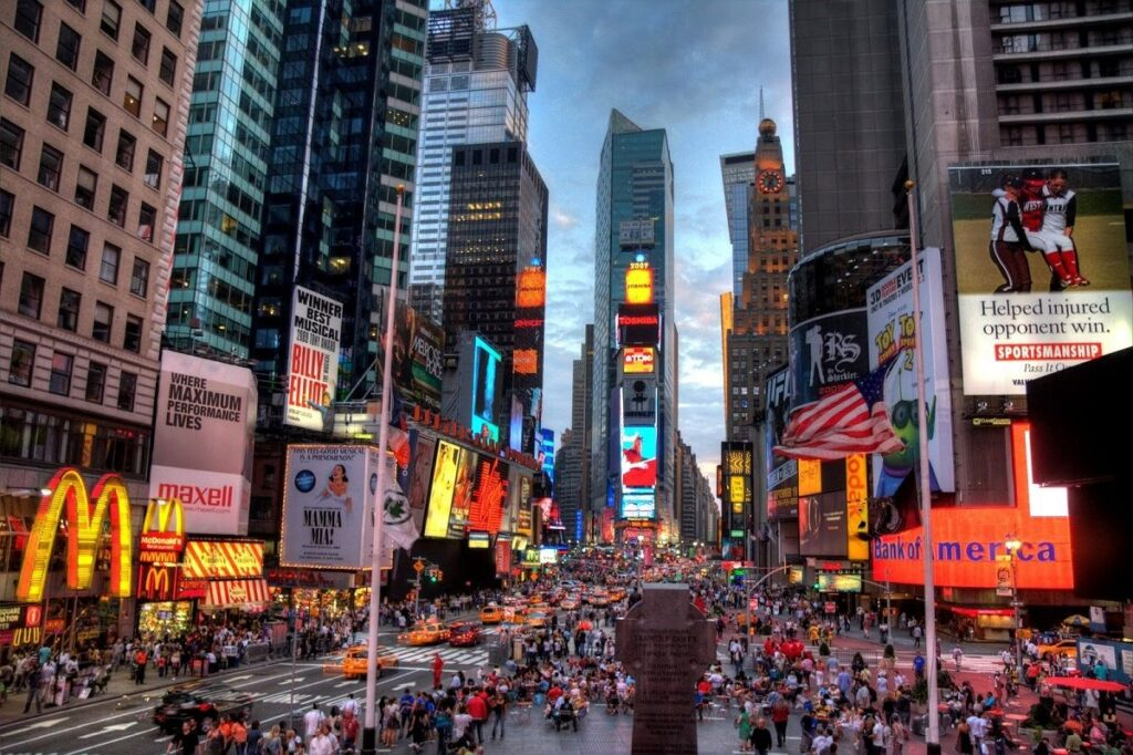 obrízek jednoho z nejslavnějších náměstí na světě, the Times Square na Manhattanu v New Yorku