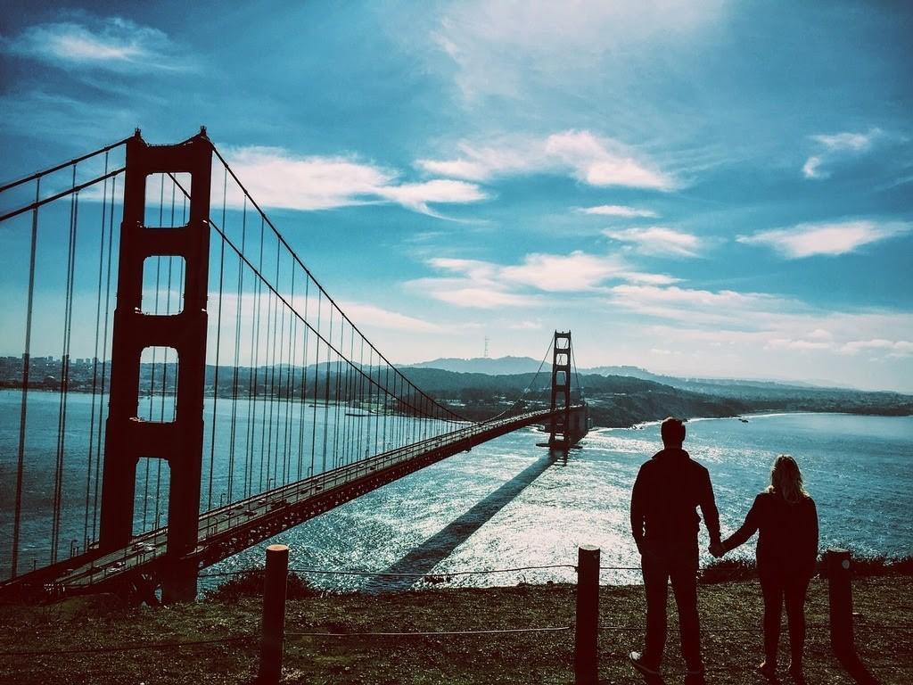romantická města v USA, foto mostu Golden Gate