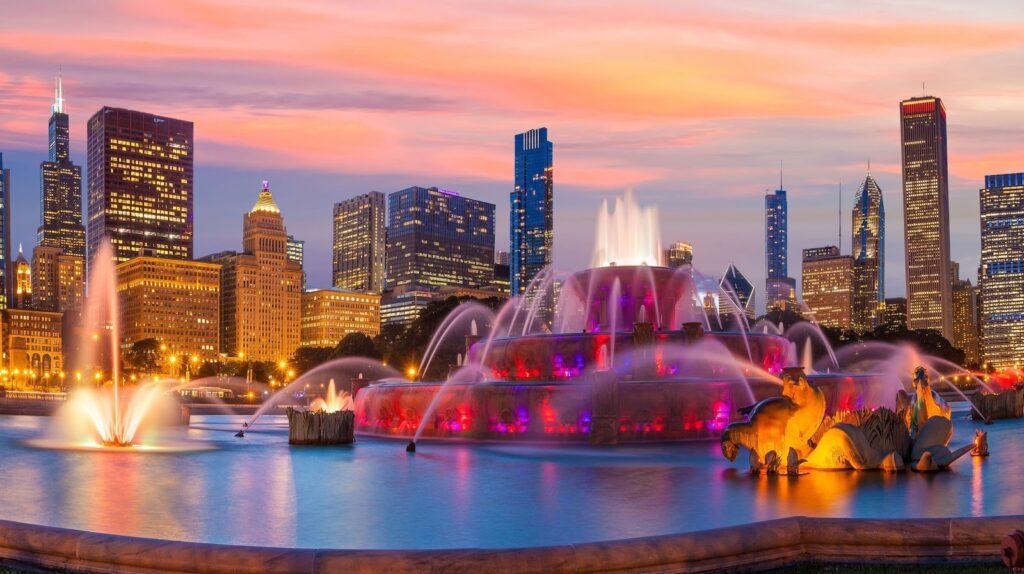 fontána a panorama nočního Chicaga